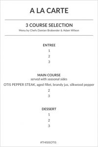 OTIS a la carte menu 1